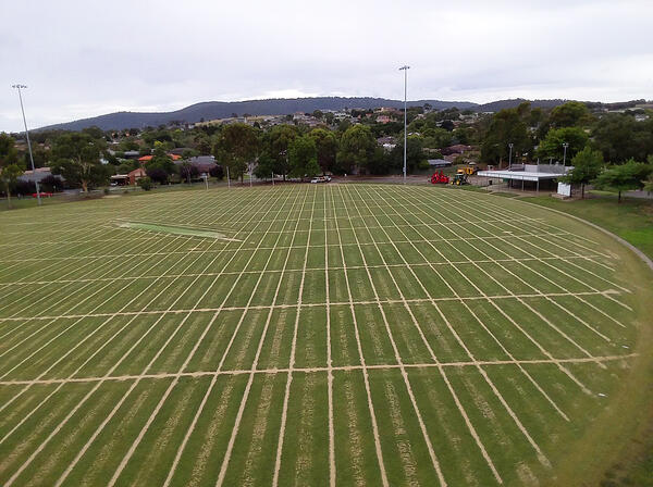 Sand slit drainage for a natural turf Field of Play (Source - Aquatek)