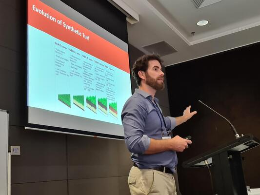 Jarrod Hill, CEO & Director at SPORTENG, presenting on the PLA NSW/CAT/QLD Conference 2021