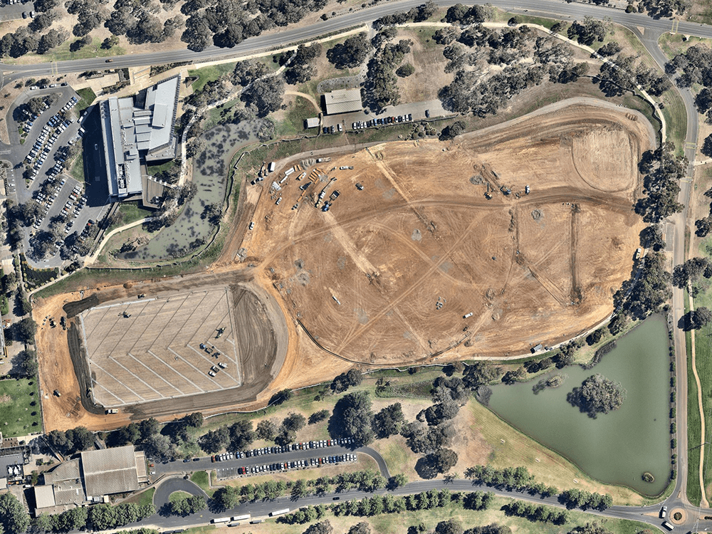 Aerial view of a Field of Play being built at Deakin University