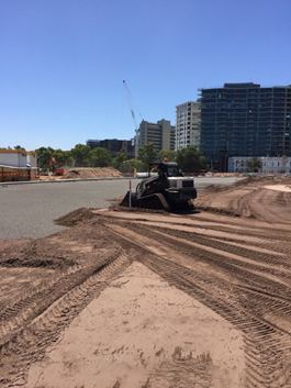 Spreading of growing medium at Junction Oval