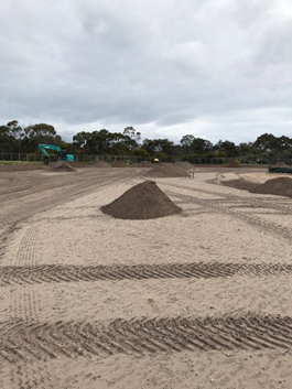 Stockpiled growing medium at Beaumaris Secondary College ovals