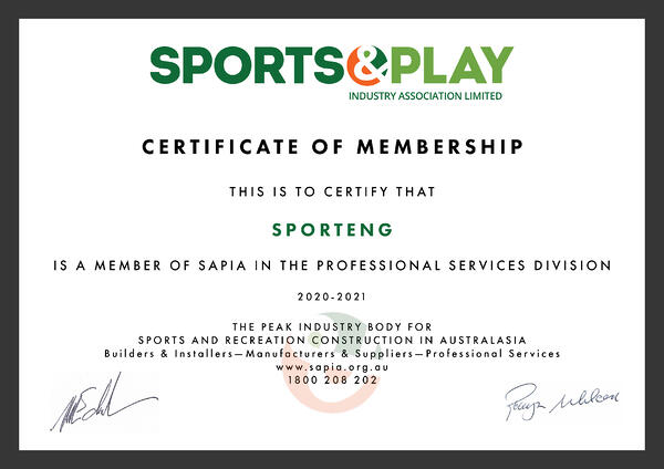 Photo of SPORTEN certificate of membership at the SAPIA organisation in the professional services division