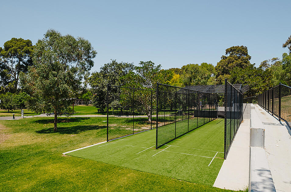 A synthetic turf cricket enclosure at the Sir Robert Menzies Reserve